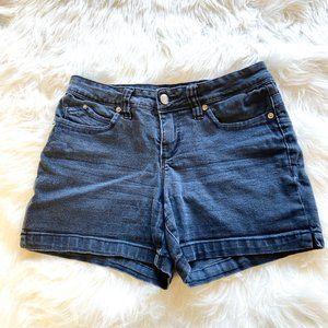 Royalty Solid Denim Shorts Black Size 6